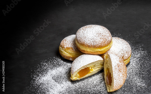 Leinwand Poster Berliner Doughnuts European donuts tradicional bakery for fasching carneval time