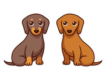 Two Cartoon Dachshunds
