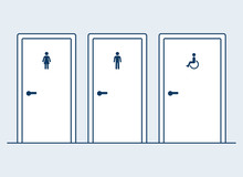 Bathroom Doors Illustration