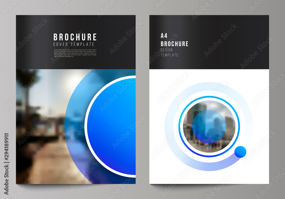 Fototapeta The vector layout of A4 format modern cover mockups design templates for brochure, magazine, flyer, booklet, annual report. Creative modern blue background with circles and round shapes.