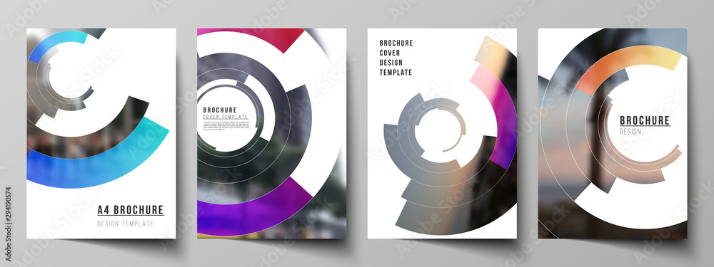 Fototapeta The vector layout of A4 format modern cover mockups design templates for brochure, magazine, flyer, report. Futuristic design circular pattern, circle elements forming geometric frame for photo.