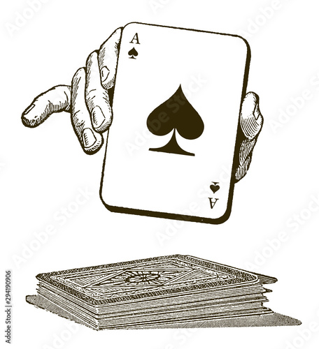 Fotografía  Human hand presenting an ace of spades playing card