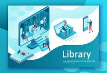 Online Library Isometric Landing Page, People Read Books On Laptop, Smartphone, Gadgets, Cloud Computing Technolodgy, Website Template Design