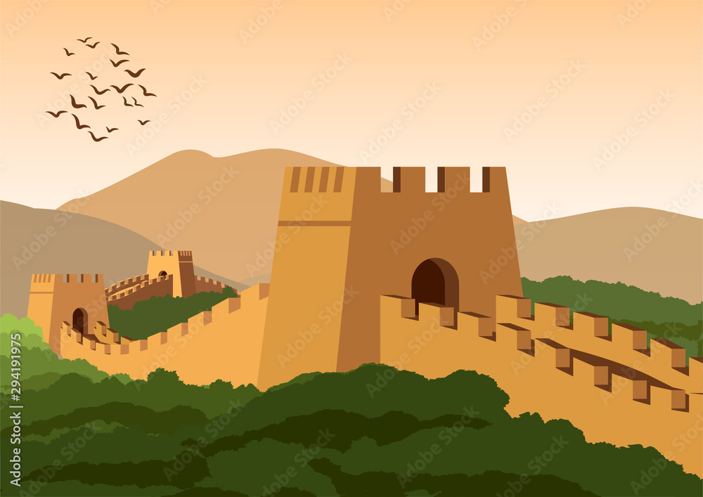 Fototapeta great wall,famous landmark and heritage of the world and china,vintage color