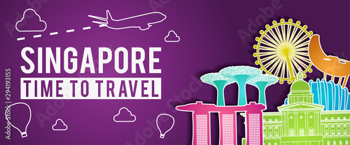 Poster Violet purple banner of Singapore famous landmark silhouette colorful style,plane and balloon fly around with cloud