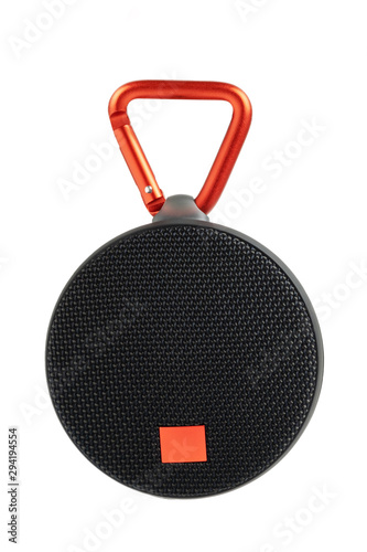 Portable bluetooth speaker isolated no white background, mini black speaker is shape circle with hanger have wireless system concept with clipping path Canvas Print
