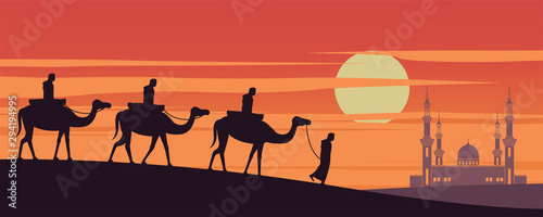caravan Muslim ride camel to mosque of Dubai on sunset time,the tradition of Ara Canvas Print