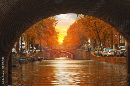 Traditional old buildings in Amsterdam Canvas Print