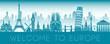 Europe famous landmark blue green silhouette design