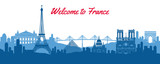 Fototapeta Fototapety z wieżą Eiffla - famous landmark of France,travel destination with silhouette classic design