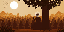 Lord Of Buddha Sermon Dharma To Crowd Of Monk,silhouette Style