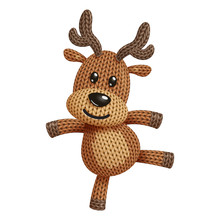 Illustration Of A Funny Knitted Reindeer Toy Dancing. On White Background