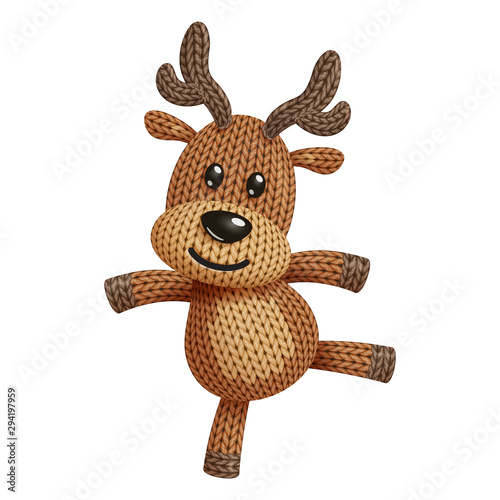 Fotografia Illustration of a funny knitted reindeer toy dancing