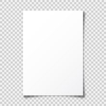 Realistic Blank Paper Sheet With Shadow In A4 Format On Transparent Background. Notebook Or Book Page With Curled Corner. Vector Illustration.