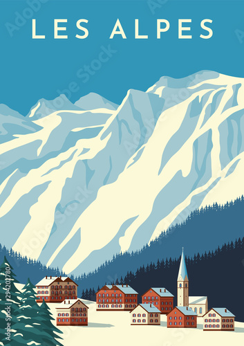 Door stickers Blue jeans Alps travel retro poster, vintage banner. Mountain village of Austria, winter landscape of Switzerland. Flat vector illustration.