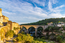 France, Languedoc-Roussillon, Herault, Road Bridge Over The Dried Up River Bed That Encircles Minerve, A Fortified Cathar Village