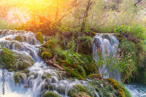 Foto op Canvas Zwavel geel Plitvice Lakes National Park with beautiful waterfalls