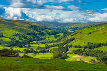Yorkshire Dales, The Road Leading From Askrigg To Gunnerside In Swaledale. Gods Own Country.  Horizontal.  Space For Copy.