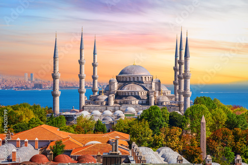 Stampa su Tela Sultan Ahmed Mosque or the Blue Mosque in Istanbul, one of the most famous Turki