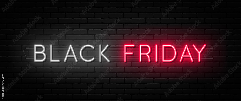 Fototapeta Black Friday sale. Black Friday neon sign on brick wall background. Glowing white and red neon text for advertising and promotion. Banner and background, brochure and flyer design concept