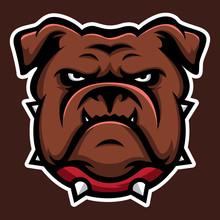 Brown Bulldog Annimal Head Logo Icon Vector