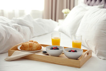 Tray With Tasty Breakfast On B...