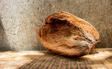 Coconut Coir On A Wood Table - Fiber From The Outer Husk Of The Coconut