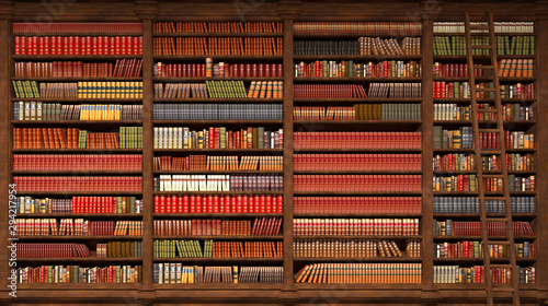 old library with books on the shelves, 3d illustration Canvas Print