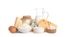 Set Of Different Dairy Products Isolated On White