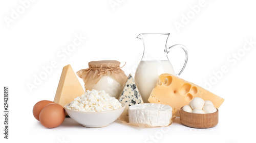 Cuadros en Lienzo Set of different dairy products isolated on white