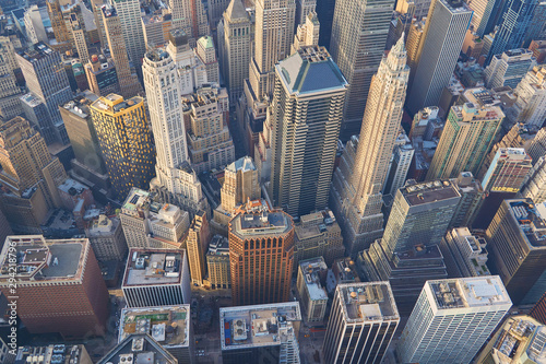 Aerial top down view on lower Manhattan financial district skyscrapers in New Yo Wallpaper Mural