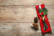 canvas print picture - Cutlery set on wooden table, top view with space for text. Christmas celebration