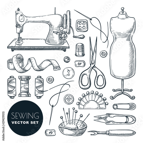 Obraz Sewing tools and tailor equipment set. Vector sketch illustration. Craft and handmade sew needlework design elements - fototapety do salonu