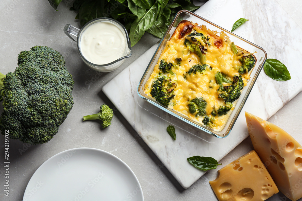 Fototapety, obrazy: Flat lay composition with tasty broccoli casserole on grey marble table