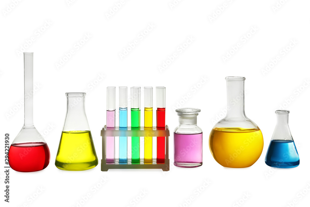 Fototapety, obrazy: Laboratory glassware with colorful liquids on white background