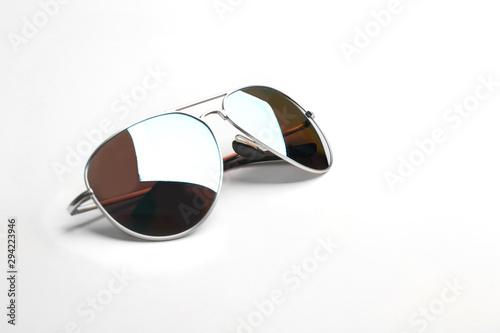 Stylish sunglasses on white background. Fashionable accessory Canvas Print