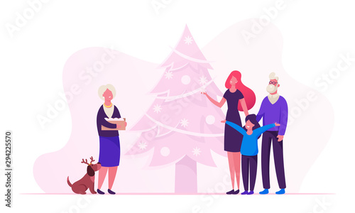 Fototapety, obrazy: Happy Family New Year and Christmas Preparation. Young Mother with Daughter Senior Grandparents and Funny Dog Stand at Decorated Fir Tree, Granny Hold Box with Toys Cartoon Flat Vector Illustration