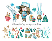 Watercolor Set Of Girl And Rabbits, Christmas And New Eyear Elements: Twigs, Candies, Cukies, Stars, Mistletoe, Decorations. Watercolor Isolated Illustration For Winter Cards, Posters, Invitations.