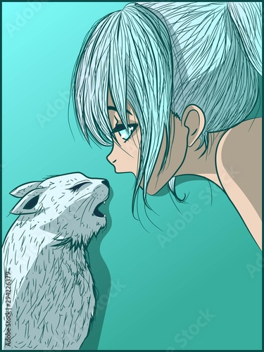 ice-cold-anime-girl-and-her-kitty-talking-to-each-other-manga-kid-and-her-pet-in-a-winter-frozen-image-low-temperature-and-friendship