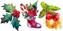 Christmas Winter Holiday Symbol Isolated. Watercolor Background Set. Isolated Christmas Illustration Element.