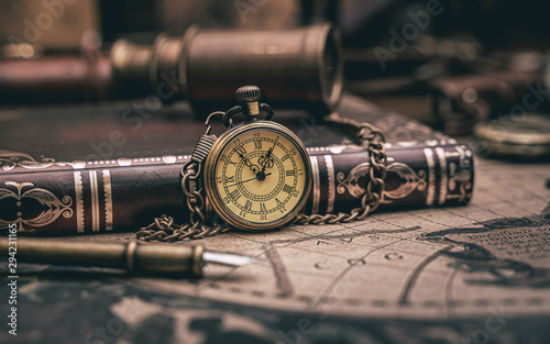 Antique Watch Necklace ANd Pocket Book Wallpaper Mural