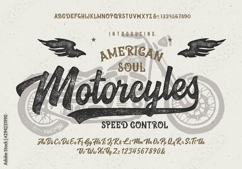 Fotografía  Vintage Brush Font With Textured Gothic Alphabet
