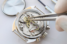 Close Up Macro Pic Of Vintage Chronograph Watch Mechanism Under Repair By Watchmaker