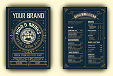 Vintage Template For  Restaurant Menu Design With Chef Illustration. Vector Layered.