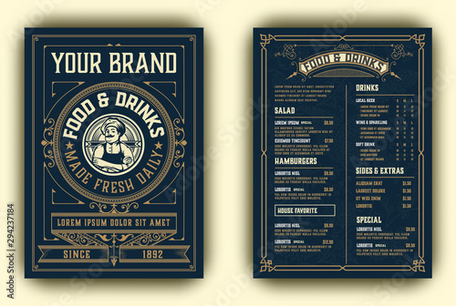 Obraz Vintage template for  restaurant menu design with Chef illustration. Vector layered. - fototapety do salonu