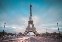 Long Exposure Eiffel Tower View During Twilight With Trendy Colors