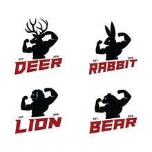 Deer Elk Lion Rabbit Bunny Bear Polar Animal Man Fitness Bundle Set Logo Vector. Strong Hand Drawn Look. Unique Fauna Head Human Body. Circus Live. Icon For Business Company. Outdoor, Sport, Cloth.