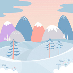 Winter landscape with snow, mountains, hills and fir trees. Cute picture for greeting cards, postcards, banners, posters. Background. Vector illustration in cartoon style with textures