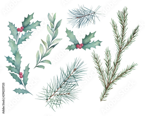 Watercolor winter set with branches holly, mistletoe and spruce. Christmas isolated elements on white background. Hand drawn illustration. Sketch botanical collection Wall mural