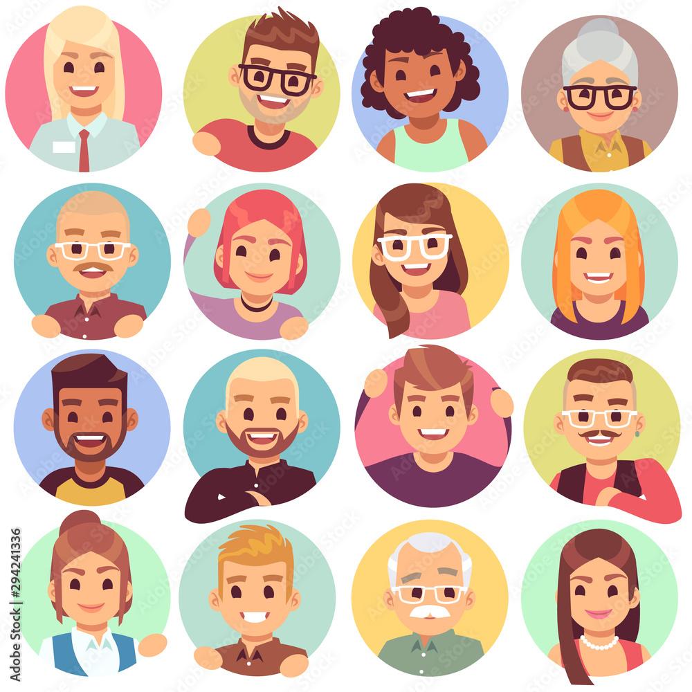 Fototapeta People in holes. Face in circular windows, emotional people greeting, smiling communicating characters. Avatars vector set